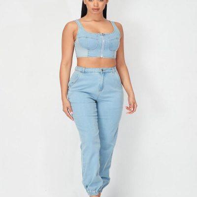 HD – Denim sleeveless crop and joggers set – Blue