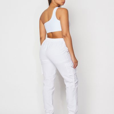 HD – One shoulder crop w/ cargos set – White