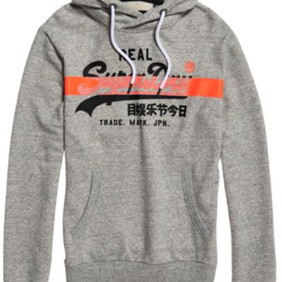 Superdry – Orange Hatched Hoodie – Grey
