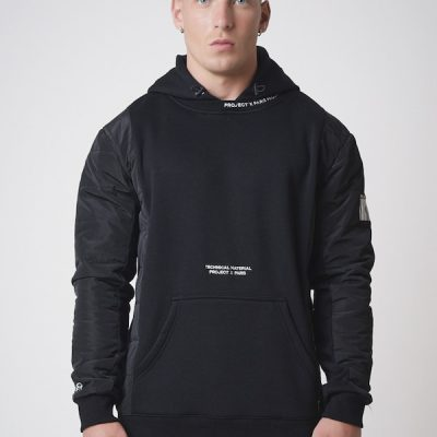 Project X Paris – Quilted Sleeve Hoodie – Black