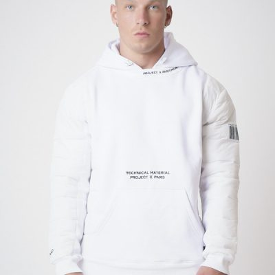 Project X Paris – Quilted Sleeve Hoodie – White