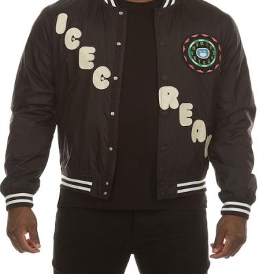 Ice Cream – Stacked Varsity Jacket – Black