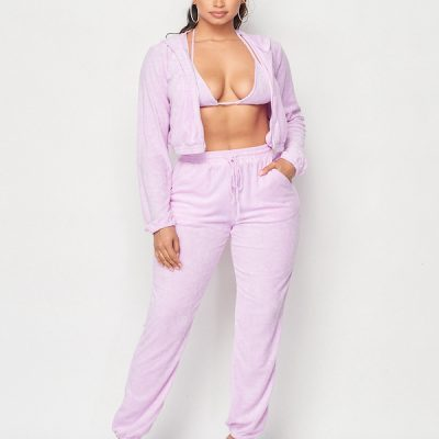 HD – Fuzzy Terry sweat suit set – Lilac