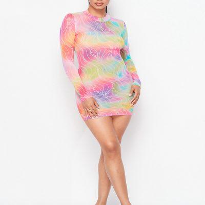 HD – Mesh Turtle neck dress – Tie Dye