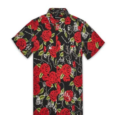 Reason – Harper floral button up Shirt – Black
