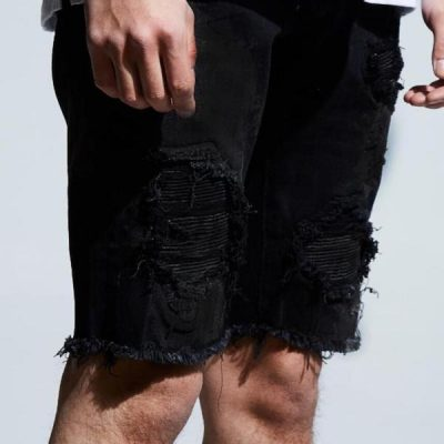 Embellish NYC – Spencer Rip+Repair Shorts – Black