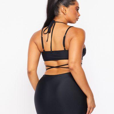 HD – Strap crop top w/ Skirt set – Black