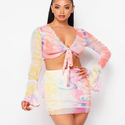 HD – Printed Skirt set – Yellow/Multi