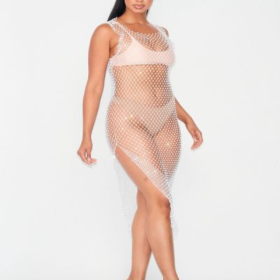 HD – Jewel Covered cover up dress – white