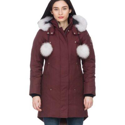 Moose Knuckles – Ladies Stirling Parka – Maroon w/ Natural fox fur