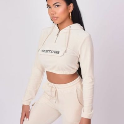 Project X Paris – Cropped Velour Hoodie – Ivory