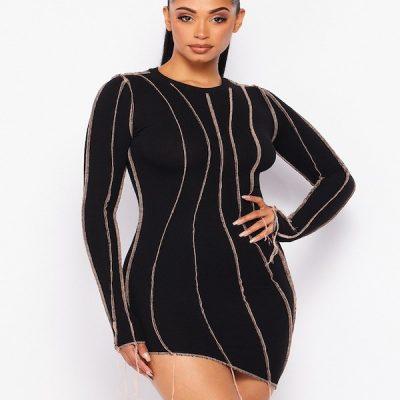 HD – Fringe Inside-Out Dress – Black