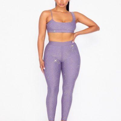 HD – Glitter Crop and Tights Set – Purple