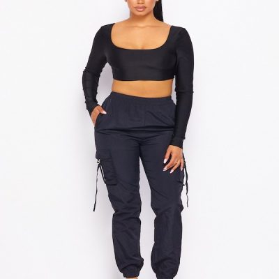 HD – Long Sleeve Crop and Cargo – Black
