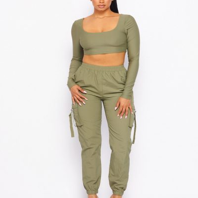 HD – Long Sleeve Crop and Cargo – Olive