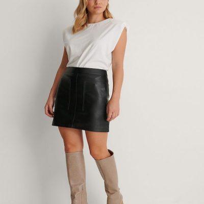 NA-KD – Pocket PU Skirt – Black