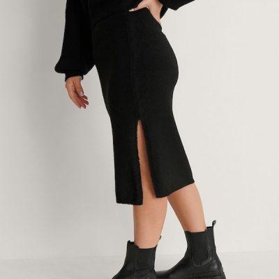 NA-KD – Side slit Skirt – Black