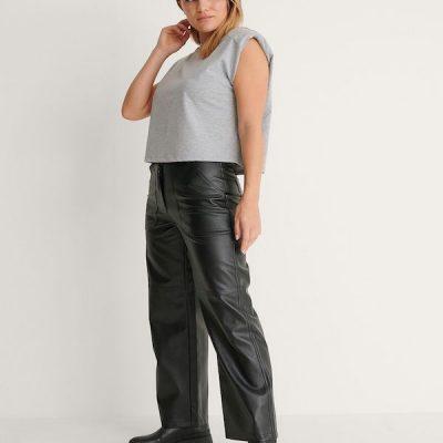 NA-KD – Straight leg PU pants – Black