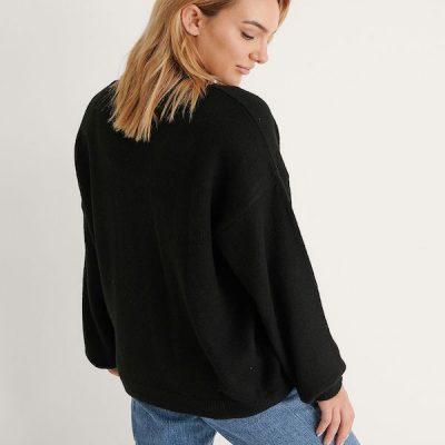 NA-KD – V-neck Sweater – Black
