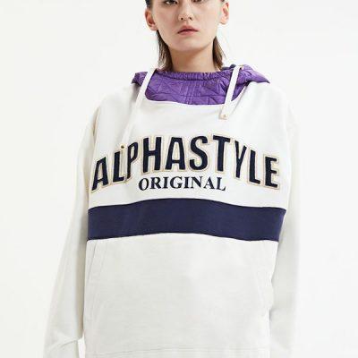 Alpha Style – Brock Quilted Hoodie – Beige/Purple