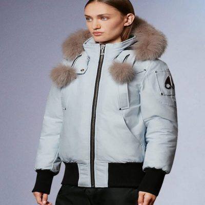 Moose Knuckles – Debbie Bomber – Arctic Ice w/ Stoned Fox Fur